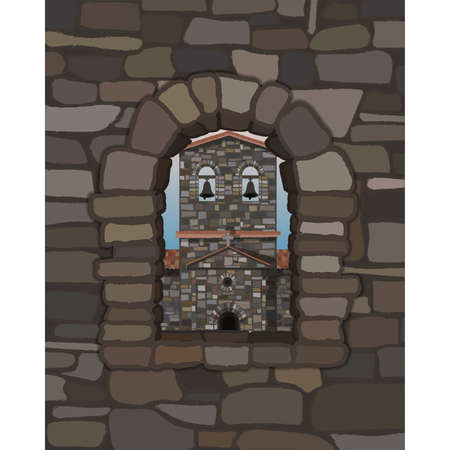 View from the old stone window of the medieval spanish church in visigothic style, vector illustration  イラスト・ベクター素材