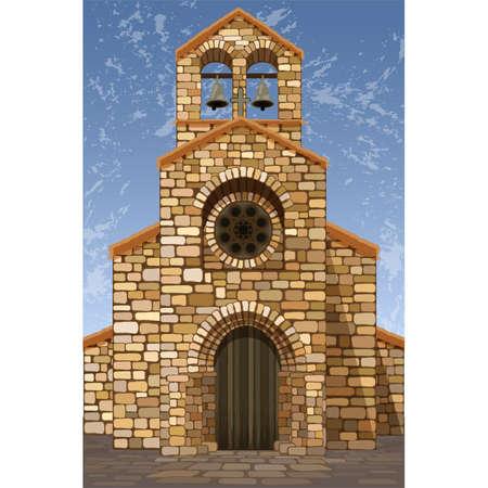 Antigua iglesia española medieval en estilo románico con campanas, ilustración vectorial Ilustración de vector