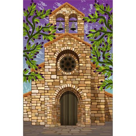 Ancient medieval spanish church in romanesque style with olive tree, vector illustration