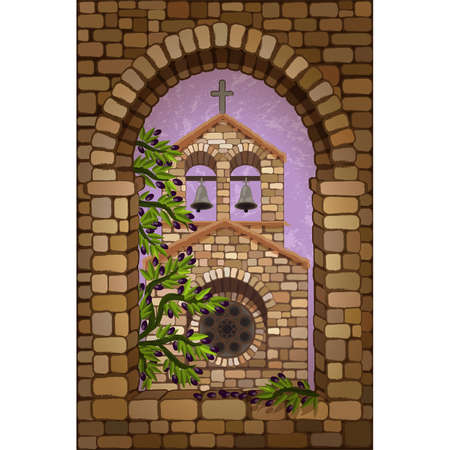 View from the stone window of the medieval church in romanesque style and olive tree, vector illustration
