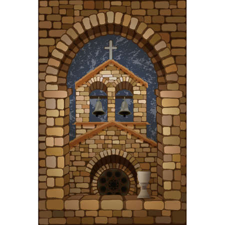 View from the arched stone window of the medieval spanish church in romanesque style and cup of wine, vector illustration  イラスト・ベクター素材