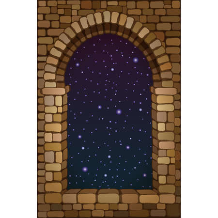 View from the old arched stone window, vector illustration