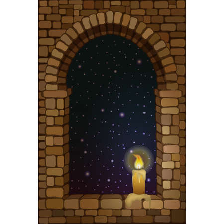 View from the old arched stone window with candle, vector illustration 일러스트
