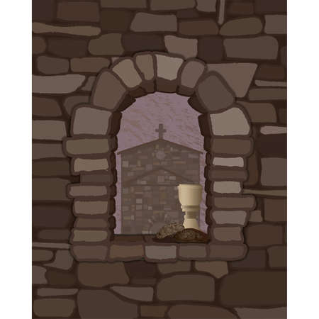 View from the arched stone window of the medieval church in visigoths style and cup of wine with black bread, vector illustration  イラスト・ベクター素材