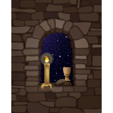 View from the arched stone medieval window and glass of wine with black bread, vector illustration