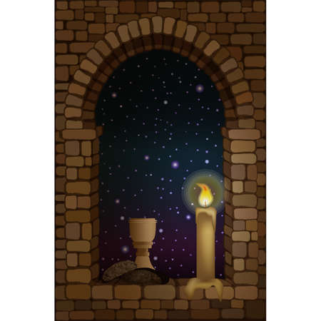 View from the arched stone medieval window. Wine and bread. vector illustration