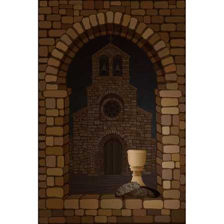 View from the arched stone window of the medieval spanish church in romanesque style. Bread and wine, vector illustration Stock Illustratie