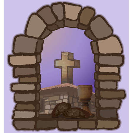 Wine and black bread on an old stone window, overlooking the medieval church and the cross. vector illustration