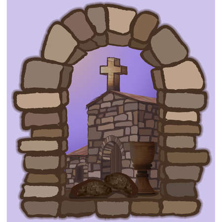 Wine and black bread on an arched stone window, overlooking the old medieval church and cross. vector illustration 일러스트