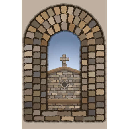 View from the arched stone of the medieval church in visigothic style, vector illustration