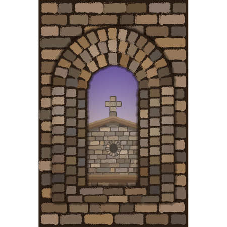 View from the old arched stone window of the medieval spanish church in visigothic style, vector illustration