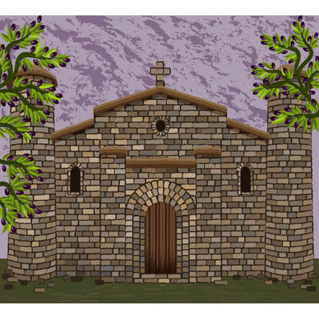 Ancient spanish church in visigothic style with stone towers and olive tree. vector illustration