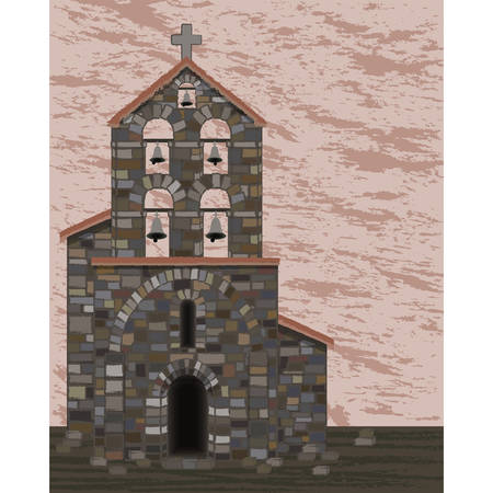 Ancient stone church with bells and arched entrance in visigoth styles, vector illustration