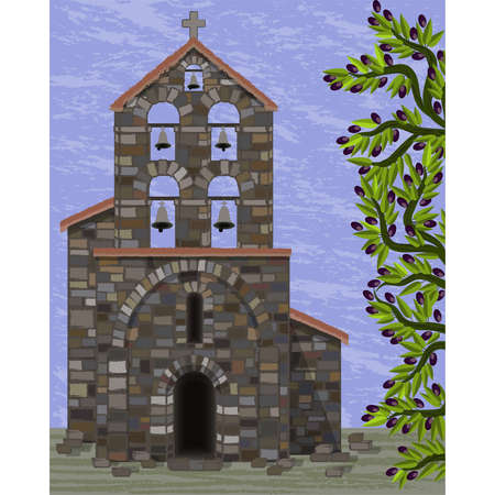 Old stone church with bells and arched entrance in visigoth styles and olive tree, vector illustration  イラスト・ベクター素材