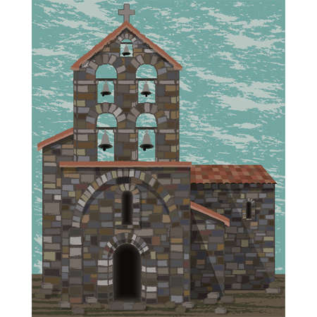 Old stone spanish church with bells and arched entrance in visigoth styles, vector illustration Ilustrace