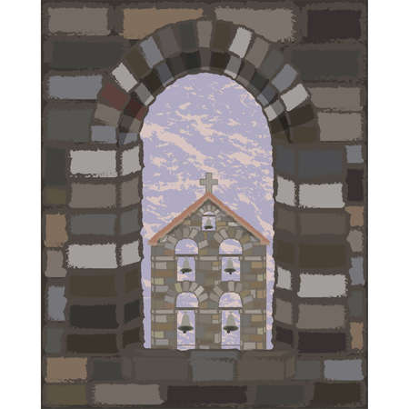 View from the arched stone window of the old medieval spanish church in visigothic style, vector illustration