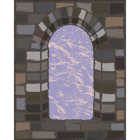 View from the arched stone window in visigothic style, vector illustration