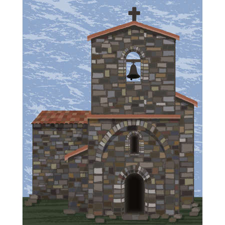 Old stone medieval church with bell and arched entrance in visigoth styles, vector illustration