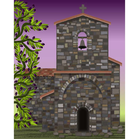 Old stone medieval church with arched entrance in visigoth styles, olive tree, vector illustration  イラスト・ベクター素材