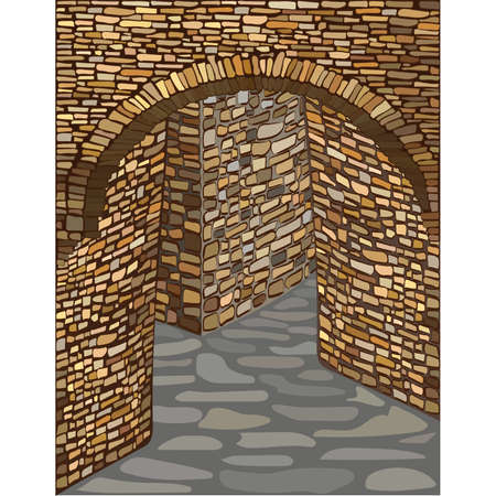 Ancient medieval street with a stone arch. vector illustration  イラスト・ベクター素材
