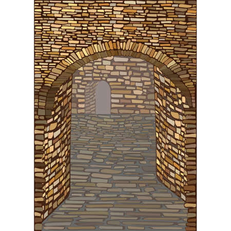 Old medieval street with a stone arch. Background. vector illustration  イラスト・ベクター素材