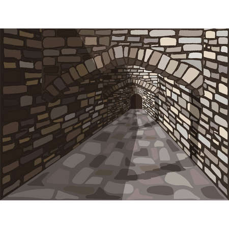 Medieval ancient street with a stone arch and door. vector illustration