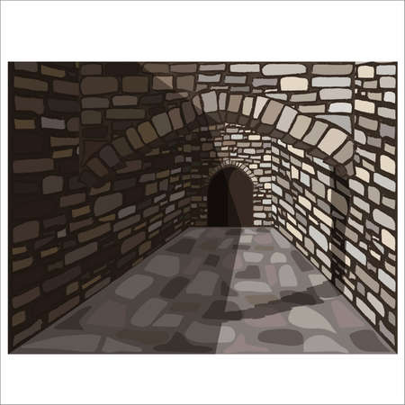Medieval old stone street with a arch and door. vector illustration Ilustrace