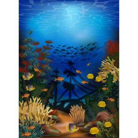 Underwater wallpaper with sunken ship, vector illustration  イラスト・ベクター素材