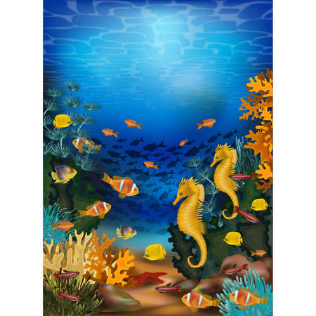 Underwater background with seahorse and tropical fish, vector illustration