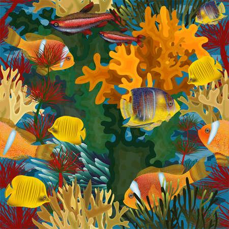 Nahtlose Unterwassertapete mit tropischen Fischen, Vektorillustration Vektorgrafik
