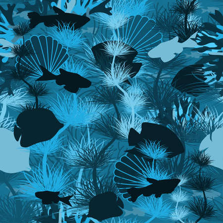 Seamless underwater wallpaper with tropical fish, vector illustration