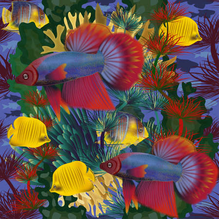 Seamless underwater background with tropical fish, vector illustration