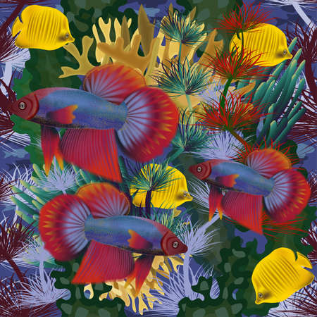 Seamless underwater wallpaper with tropical fish, vector illustration Ilustração