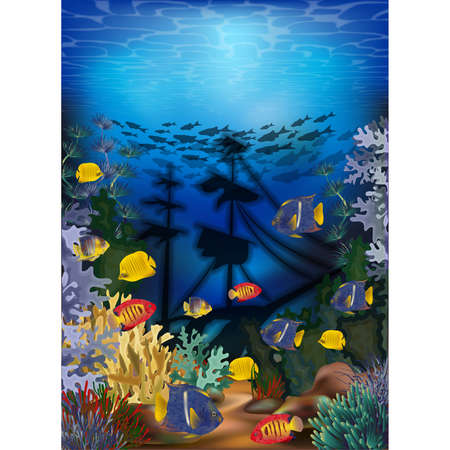 Underwater wallpaper with tropical fish and sunken ship, vector illustration