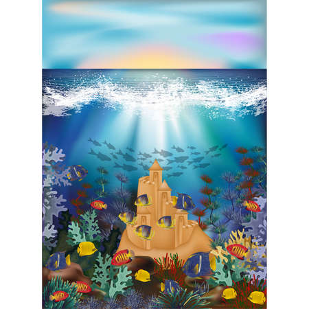 Underwater card with tropical fish and sand castle, vector illustration Vectores