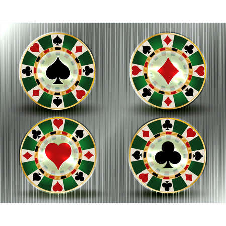 Set casino poker vip chips, vector illustration