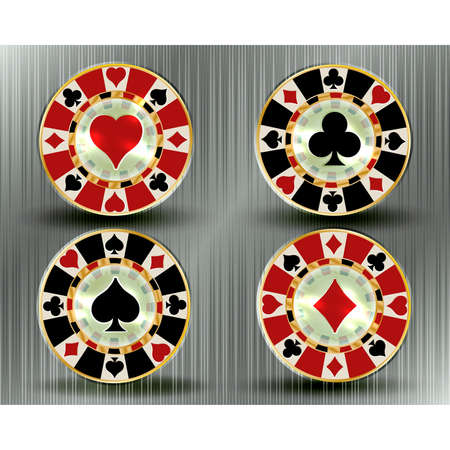 Set casino poker chips, vector illustration