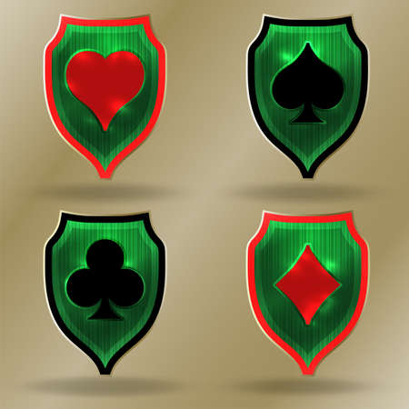 Casino emblems, Poker coat of arms, vector illustration