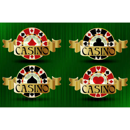 Set casino vip poker chips, vector illustration