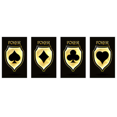 Golden poker cards, vector illustration