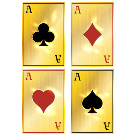 Golden poker vip cards, vector illustration