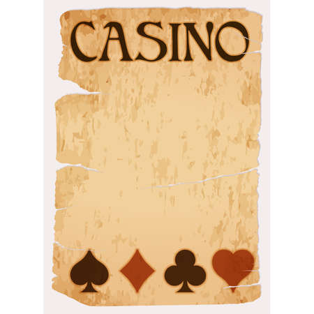 Casino vintage banner with poker cards, vector illustration