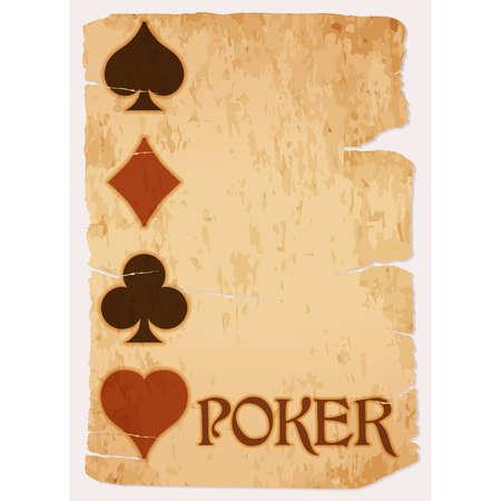 Poker invitation vintage card, vector illustration