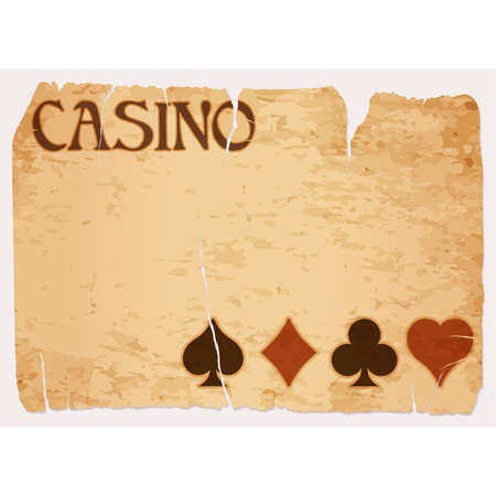 Casino invitation vintage banner with poker elements, vector illustration