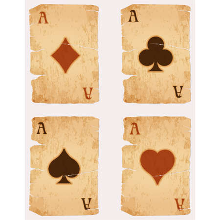 Vintage casino poker cards set, vector illustration