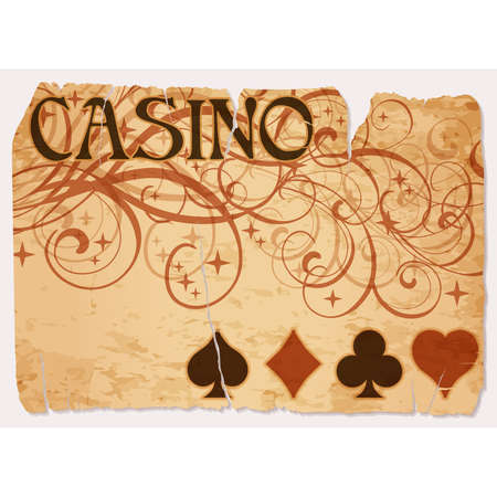 Vintage casino vip card with poker elements, vector illustration Illustration