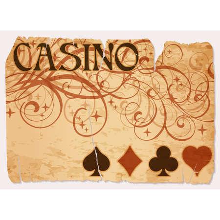 Vintage casino vip card with poker elements, vector illustration Ilustração
