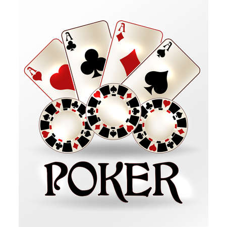 Poker casino vip card with chips, vector illustration