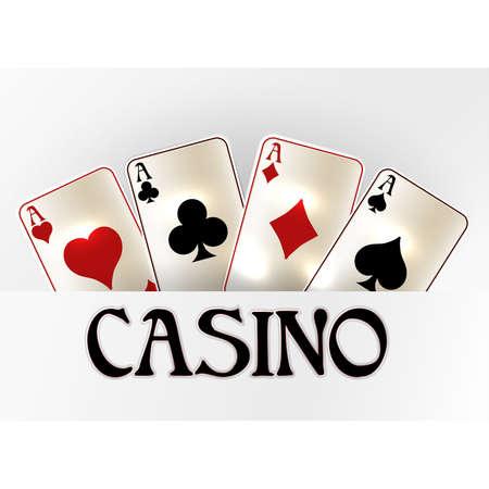 Casino vip invitation banner with poker cards, vector illustration Ilustração