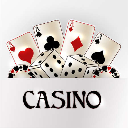 Casino vip invitation card with poker elements, vector illustration